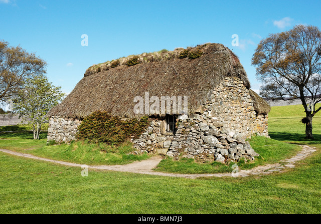 Leanach Cottage, Culloden Battlefield, near Inverness, Highland, Scotland, UK. - Stock Image