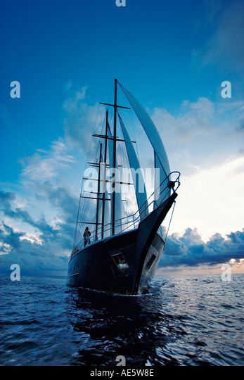 Yacht with full sails Sea Star Sailing Yacht Property released Seychelles - Stock Image