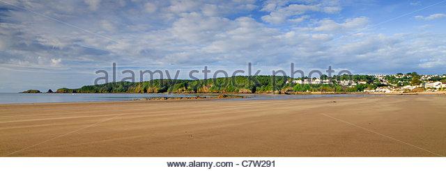Saundersfoot Beach Pembrokeshire Wales - Stock Image