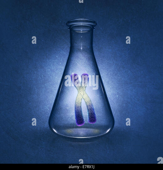 Human chromosome in laboratory flask on blue background , detailed illustration - Stock Image