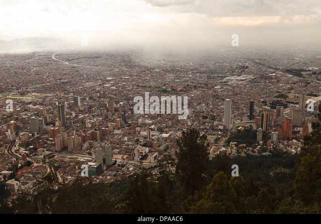 View of Bogota, Monserrate, Bogota, Colombia, America - Stock Image