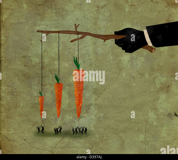 Illustrative shot of business people jumping for carrot depicting competition for incentive - Stock-Bilder