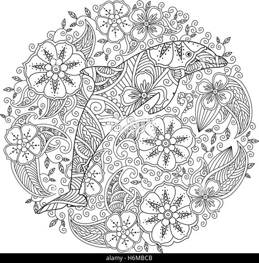 Abstract Dolphin Coloring Pages : Zentangle inspired stock photos
