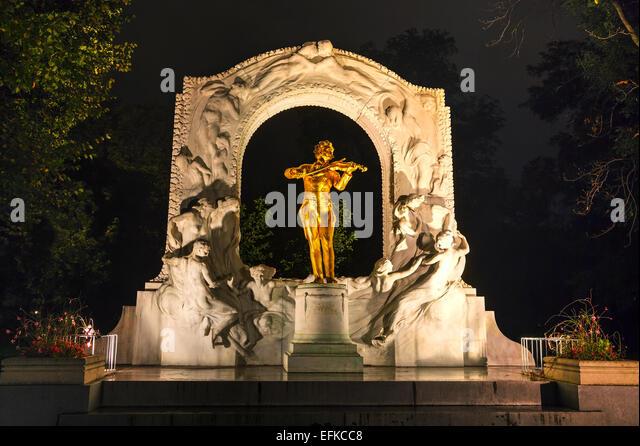 Johann Strauss statue at Stadtpark in Vienna, Austria - Stock Image