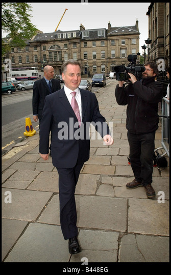 First Minister Jack McConnell MSP May 2003 decides on his new cabinet from Bute House Edinburgh - Stock Image