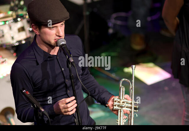 Captain Ska with trumpet player Jake Painter in the fore in a 2012 performance in London. Their song 'Liar, - Stock Image