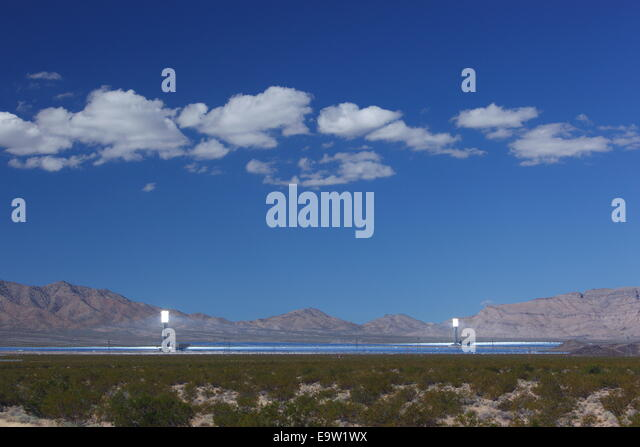 Ivanpah solar thermal energy project, near Primm, California, USA - Stock Image