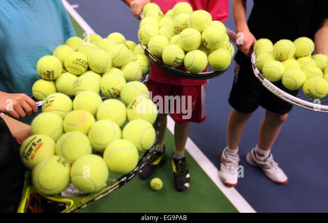 boys with tennis balls - Stock-Bilder
