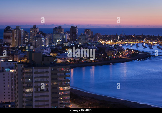 Uruguay, Punta del Este, evening aerial view - Stock Image