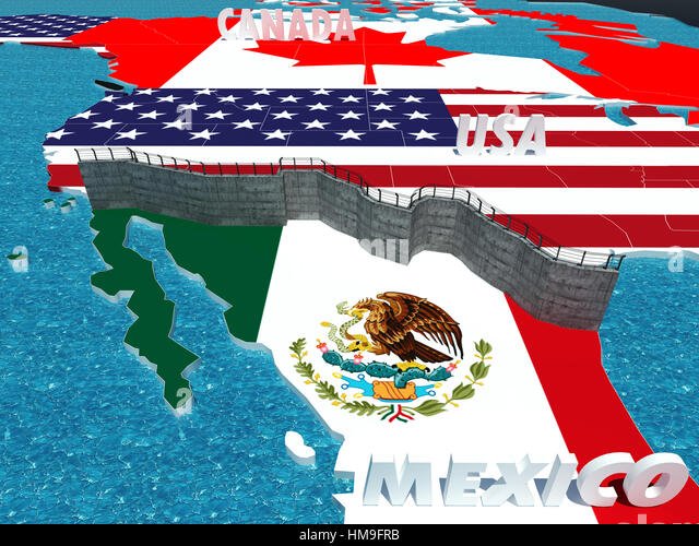 Symbol of Border Wall between Mexico and United States as president promised symbol of border between mexico and - Stock Image