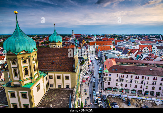 Augsburg, Germany city center aerial view. - Stock Image