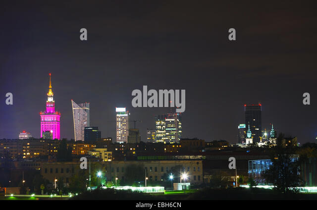 Cityscape of Warsaw, Poland at night time - Stock Image