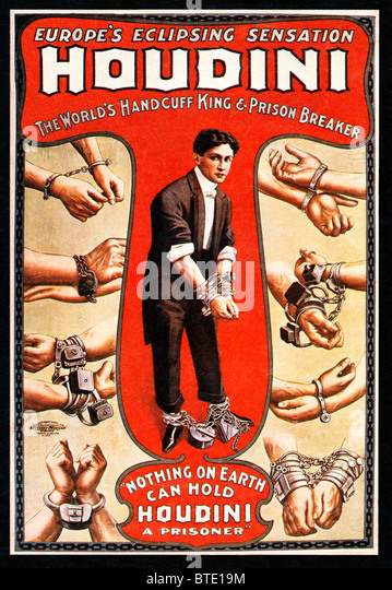 Houdini, 1906 poster for the Worlds Handcuff King and Prison Breaker, the Hungarian-American escapologist supreme - Stock Image