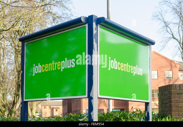 Bright green sign for Job Centre Plus in West Bromwich - Stock Image