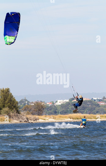Kite and Wind Surfing at Pelican Point Perth Western Australia - Stock Image