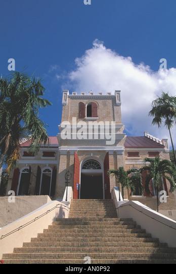 St Thomas USVI Charlotte Amalie Frederick Lutheran Church tourist attraction and historic landmark - Stock Image