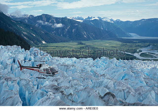 Alaska Juneau Hole In The Wall Glacier Era Helicopter Flightseeing Tour aerial - Stock Image
