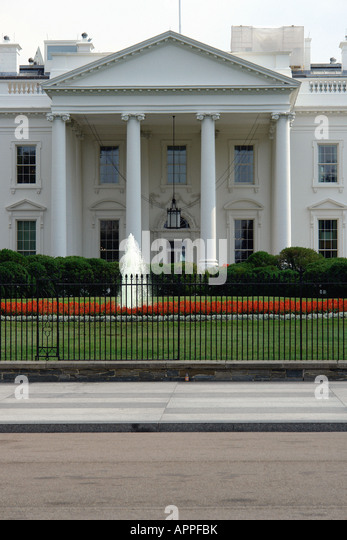 The White House which is the Residence of the President of the United States of America in Washington DC USA - Stock Image