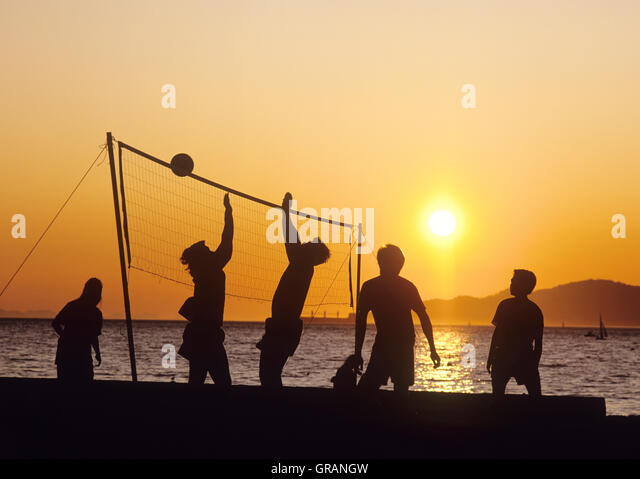 North America, Canada, British Columbia, Vancouver, English Bay, Kitsilano Beach, volleyball - Stock Image