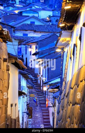 Rooftops and stairs, Cuesta San Blas (San Blas Hill), San Blas Neighborhood, Cusco, Peru - Stock Image