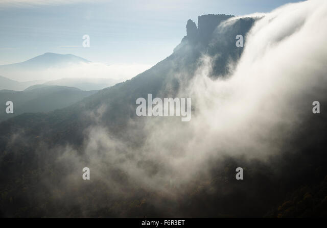Fog. Salt Sallent waterfall. Rupit. Osona Region. Barcelona. Cataluña. Spain. Europe - Stock Image
