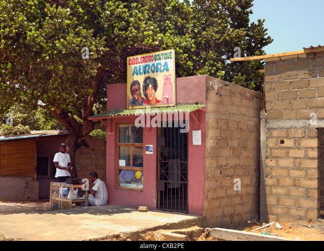Small clothes shop. Ponta do Ouro, southern Mozambique. - Stock Image