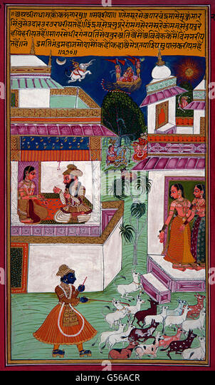 Cowherd Krishna and surprised Radha - Stock Image