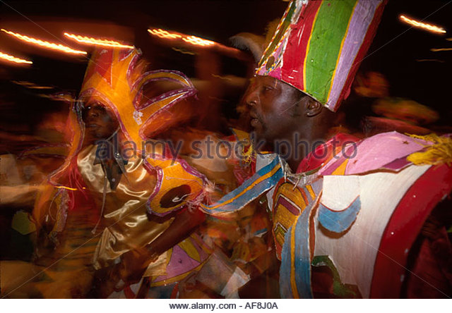 Bahamas New Providence Nassau Cable Beach Junkanoo dancers nightlife - Stock Image