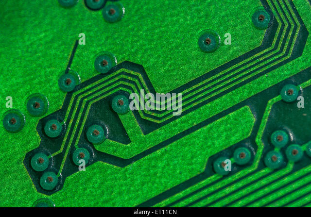 Macro-photo of printed circuit wiring for a PC motherboard. - Stock Image