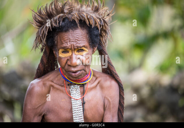 dani tribal woman in Ugem Village, Bailem valley, West Papua - Stock Image