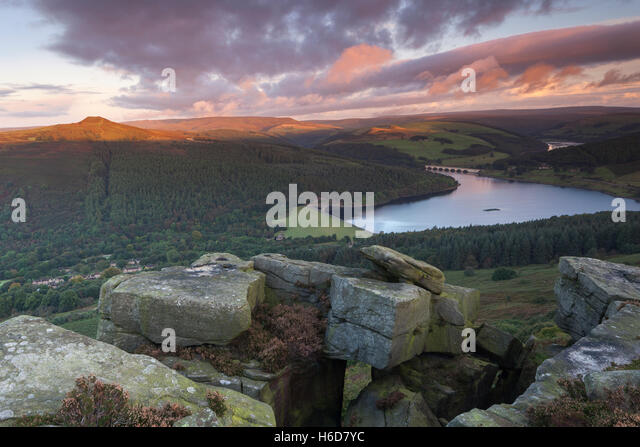 Sunrise over Ladybower reservoir from an elevated viewpoint at Bamford Edge, Bamford, Peak District, Derbyshire, - Stock Image