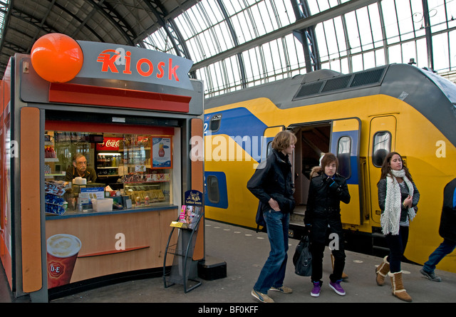 Amsterdam train station railway Netherlands Dutch - Stock Image