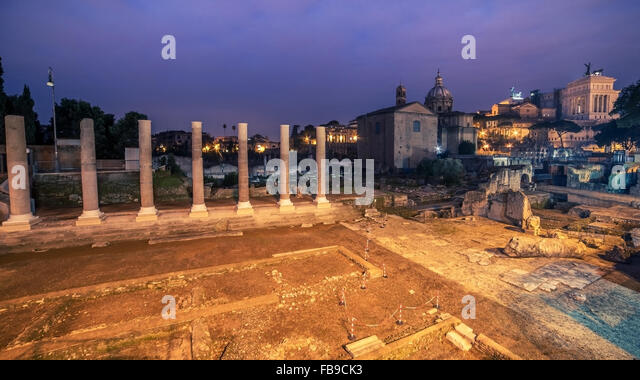 Rome, Italy: The Roman Forum in sunrise - Stock Image