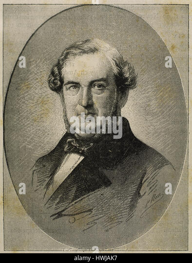 Salustiano de Olozaga y Almandoz (1805-1873). Spanish politician, diplomat and writer. He was Prime Minister of - Stock Image