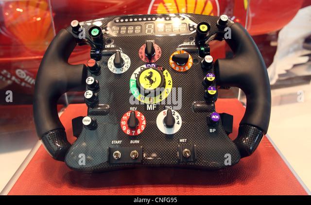 Detail of Ferrari Formula One racing car steering wheel. - Stock Image