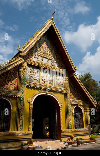 Decorative facade, Wat Si Muang, Vientiane, Laos, Indochina, Southeast Asia, Asia - Stock Image