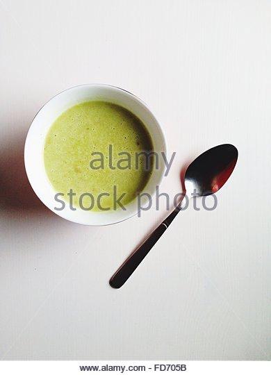Directly Above Shot Of Served Matcha Coffee - Stock-Bilder