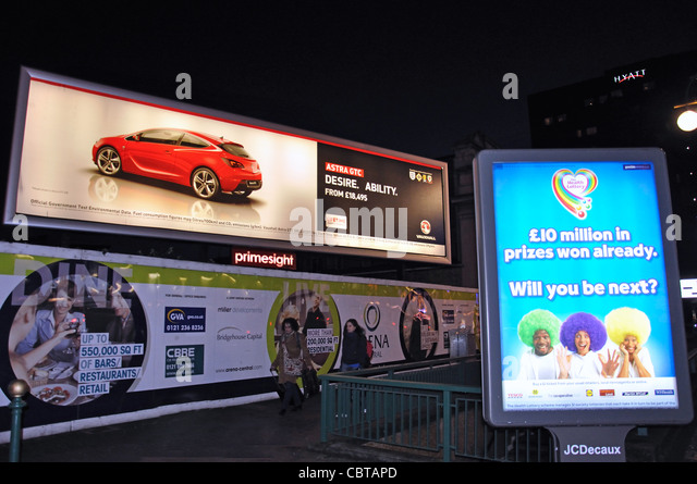 Illuminated advertising billboards, Broad Street, Birmingham, West Midlands, England, United Kingdom - Stock Image