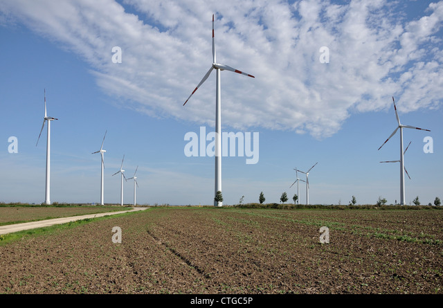 energy plant in plains, Saxony - Stock Image