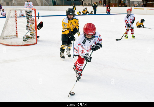 Ice hockey game, Sonogno, Switzerland - Stock Image