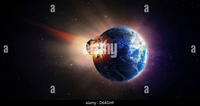 Asteroid impacting Earth, artwork - Stock Image