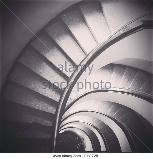 High Angle View Of Spiral Staircase - Stock-Bilder