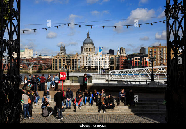 View of St Paul's Cathedral from Shakespeare's Globe, Globe Theatre, London, England, United Kingdom - Stock Image