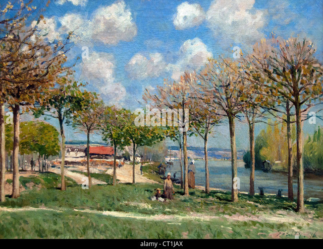 The Seine at Bougival 1876 Alfred Sisley Alfred Sisley 1839 - 1899 British / French Impressionist - Stock Image