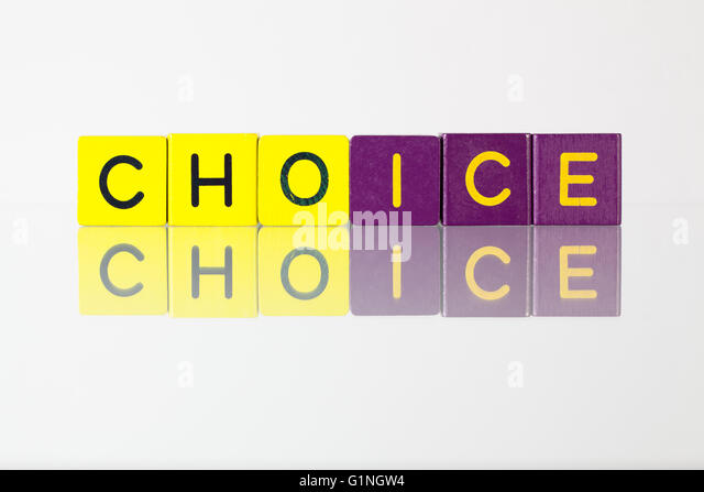 Choice - an inscription from children's wooden blocks - Stock Image
