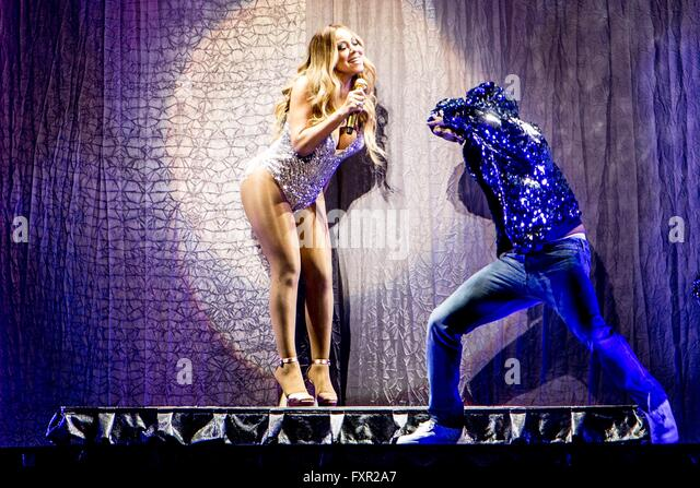 Milan, Italy. 16th Apr, 2016. Mariah Carey performing live at Mediolanum Forum in Milano, Italy, on April 16 2016 - Stock Image