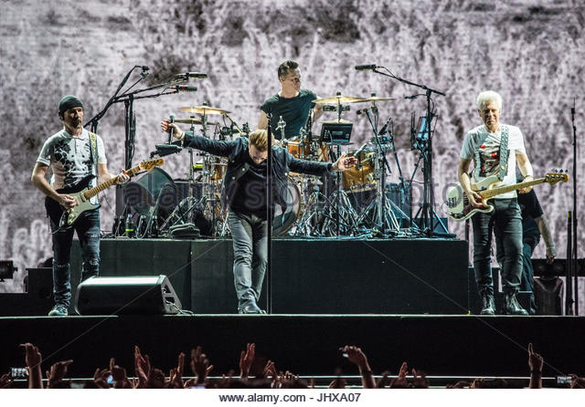Rome, Italy. 15th July, 2017. Irish band U2 performs live on stage at Stadio Olimpico in Rome on July 15, 2017 Credit: - Stock Image