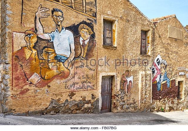 Murales in Orgosolo village, wall painting, Nuoro Province, Sardinia, Italy - Stock-Bilder