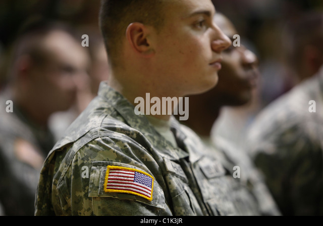 Soldiers of the Bedford, Ind. based 2219th Brigade Support Company of the Indiana National Guard deploy.  - Stock Image
