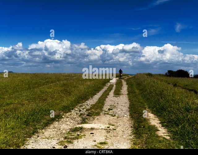 Cycling in the South Downs National Park, near Brighton, Sussex - Stock Image